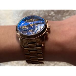 MK Rosegold Watch • Brown Face & Blue Crystal